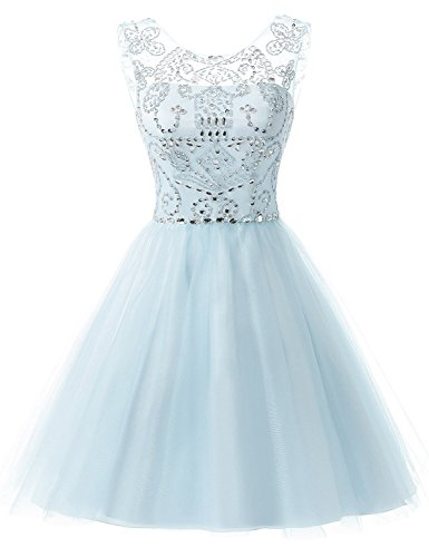 Sarahbridal Women's Short Tulle Prom Party Dresses Beading Crystal Homecoming Gowns Light Blue US10 (Party Crystal)
