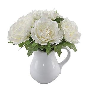 "Flora Bunda Artificial Flowers Faux Plant 11.5"" Tall White Peony in Ceramic Pot,White Peony 11.5"" 10"
