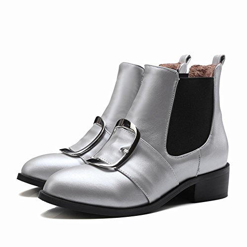 Latasa Womens Fashion Chunky Heels Ankle High Chelsea Boots Silver eqtZ7zK