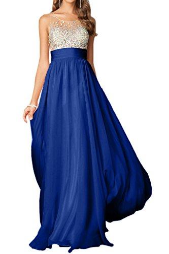 Linie Promkleid Steine Chiffon amp;Tuell Abendkleid Festkleid Rundkragen Lang Royalblau Elegant Damen Ivydressing A z4qOSO