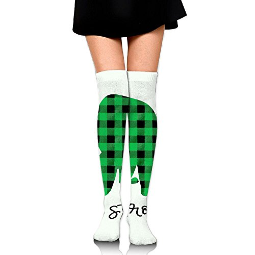 Women Plaid Bear Buffalo Knee High Socks Reliability High Halloween Over The Knee (Halloween Beards Canada)