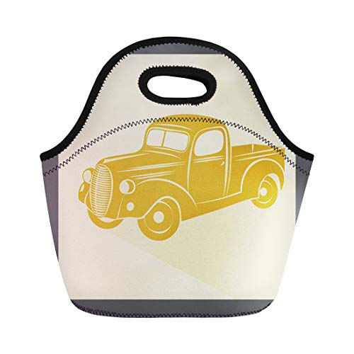 Semtomn Lunch Tote Bag Colorful Truck Retro Car Vintage Old Auto Model Abstract Reusable Neoprene Insulated Thermal Outdoor Picnic Lunchbox for Men - Traffic Signs Clipart