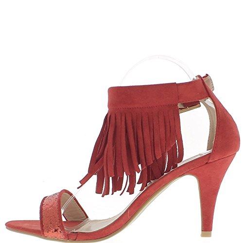 Sandalias talla grandes rojo flecos a tacón de 9cm