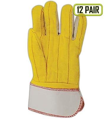 Magid Glove & Safety 64JTNESC Magid Double Palm Glove, Men's Jumbo (Fits X-Large), Yellow, Men's Jumbo (Fits XL) (Pack of 12)