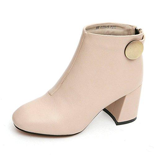 KHSKX-El Otoño Y El Invierno Los Zapatos Con Martin Rough Botas Moda Retro Square Cotton Color Elegante Botas Botas Al Viento Beige