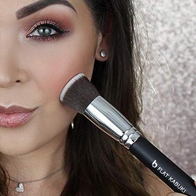 Liquid Foundation Kabuki Makeup Brush - Flat Top Expert, Stippling, Blending, Buffing, Setting Make Up, Cream Powder Mineral Cosmetics, Full Coverage Face Buffer, Soft Dense, Synthetic