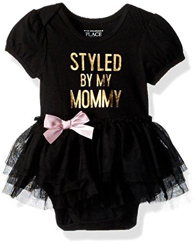 The Children's Place Baby Girls' Tutu Bodysuit, Black, 12-18MOS