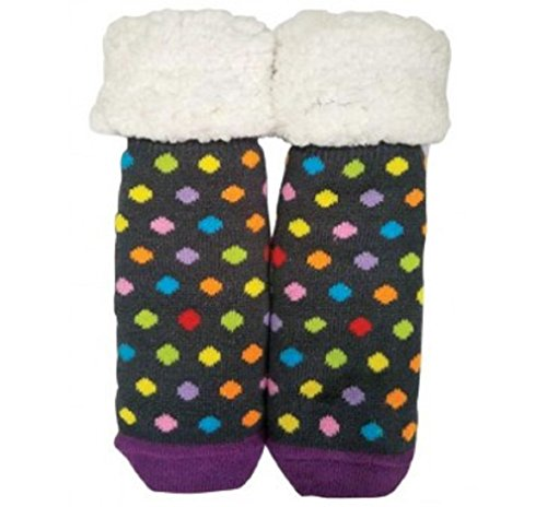Pudus Polka Dotted Acrylic Polyester Slipper Socks (Dotted Feet Baby)