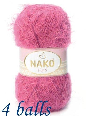 Nako Paris 40% Premium Acrylic, 60% Polyamide Yarn - 6578 Dark Pink (4 Balls)