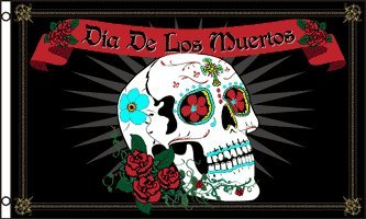 UNK 3'x5' Dia de Los Muretos Day of The Dead Sugar Skull Flag Mexico Mexican Catholic -