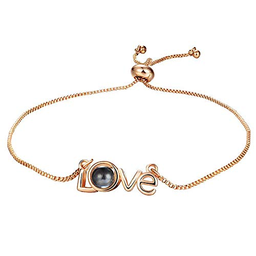 MoBody I Love You Projection Bracelet 100 Different Languages Projection Romantic Creative Gift for Women and Girls (Style 2 - Rose Gold-Tone)