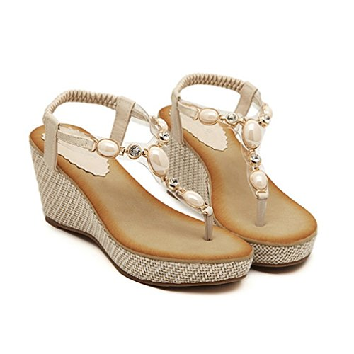CYBLING Fashion Bohemian Women High Heels Wedge Sandals Shoes Beige Fxx9uD4N