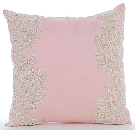 The HomeCentric Luxury Pink Decorative Pillows Cover, Beaded Floral Border Throw Pillows Cover, 16'x16' Pillow Case, Square Cotton Linen Pillow Covers, Floral - Pink Inspire 16x16 Pillow Case THC1302PinkInspire