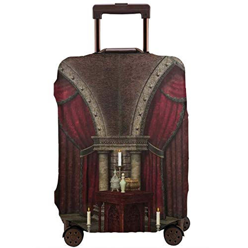 Travel Luggage Cover,Mysterious Dark Room In Castle Ancient Pillars Candles Spiritual Atmosphere Suitcase Protector