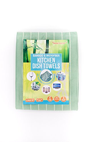 Angelgear Bamboo Microfiber Kitchen Dish Towels, Super Absorbent, Anti-Bacterial, Large 24'' x 16'' Inch 6 Pack Set!, Eco-Friendly, Quick Drying, All Purpose Household Cleaning, NO Lint, NO Streaks by Angelgear (Image #3)