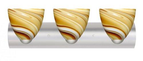Besa Lighting 3WZ-7572HN-LED-SN 3X75W A19 Sasha II Wall Sconce with Honey Glass, Satin Nickel Finish (Honey 7572hn Sn)