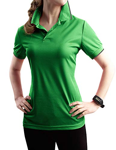 TWINTH Womens Active Sports Wear Short Sleeve 2-Button Polo T Shirt with Plus Size Green XL