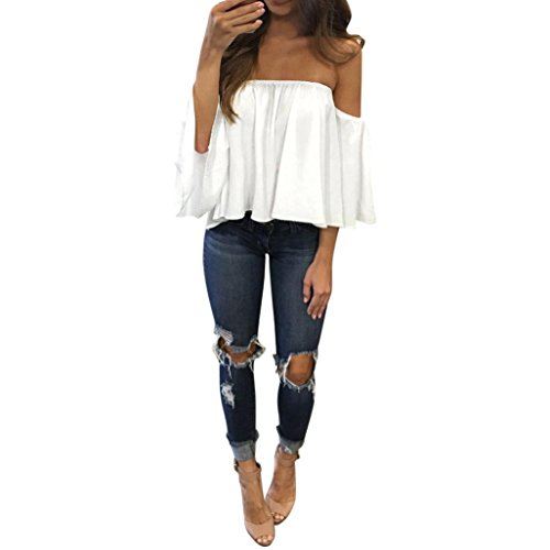 Clearance Sale! Women Shirts WEUIE Long Sleeve Pullover T Shirt Off Shoulder Casual Blouse (Size S/ US 4, White)