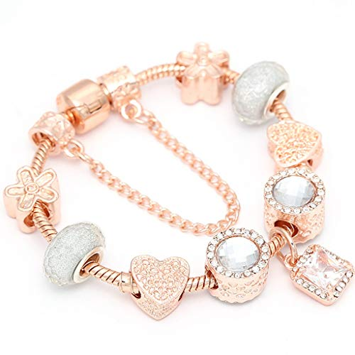 Gift for Girlfriend Western Silver Plated Jewelry Charm Bracelets for Ladies Crystal Beads Fine Anklet Bracelets; Bangles DIY Jewelry Pulseras Design