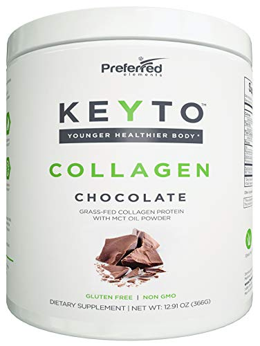 Keto Collagen Protein Powder with MCT Oil - Keto and Paleo Friendly Pure Grass Fed Pasture Raised Hydrolyzed Collagen Peptides - Fits Low Carb Diet and Keto Snacks - KEYTO Chocolate Flavor