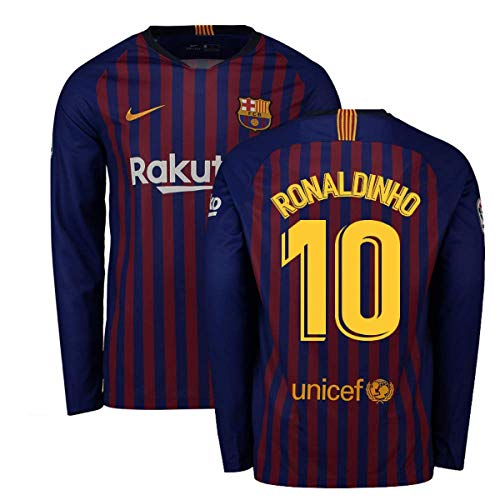 385ecb81385 2018-2019 Barcelona Home Nike Long Sleeve Football Soccer T-Shirt Jersey  (Ronaldinho 10)