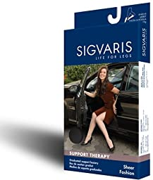 Sigvaris Sheer Fashion Maternity Support Hose 15-20mmHg : Size D Natural