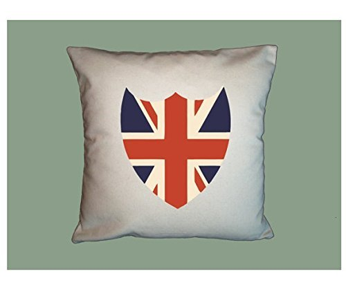 Vintage Union Jack Sheild Pillowcase, Home Decor, Cushion Cover, Handmade 16x16 Pillow Cover, Gift for Friends (Easy Halloween Crafts Third Grade)