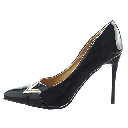 Sopily - Zapatillas de Moda Tacón escarpín stiletto Tobillo mujer brillantes patentes Talón Tacón de aguja alto 11 CM - Negro