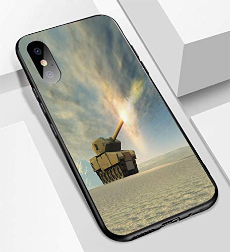 iPhone X/XS Ultra-Thin Glass Back Phone case,Battle Tank Firing Soft and Easy to Protect The Protective case