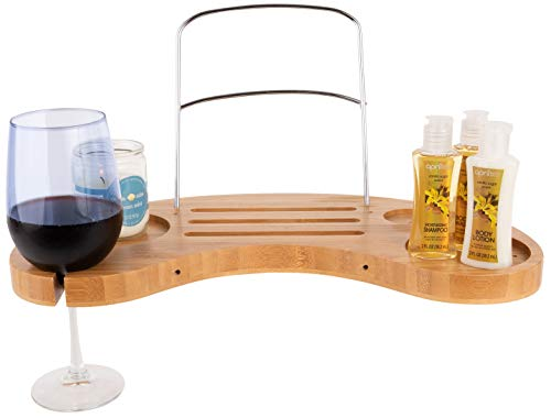 - OLIVIA & AIDEN Luxury Bathtub Caddy Tray (Bamboo) Expandable Organizer w/Detachable Tablet Backrest, Wine Glass Holder, Smartphone Holder | Portable Spa Comfort