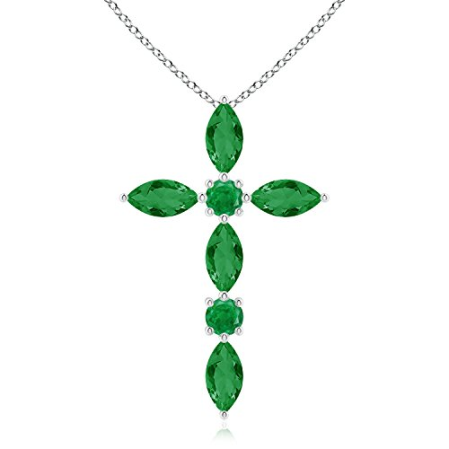 Emerald Round Cross - Marquise and Round Emerald Cross Pendant in 14K White Gold (5x2.5mm Emerald)