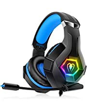 Gaming Headset for PS4 Xbox One PC, Over Ear Gaming Headphones with Noise Cancelling Microphone Volume Control RGB LED Light, for PC Laptop Mac Tablet Smart Phone