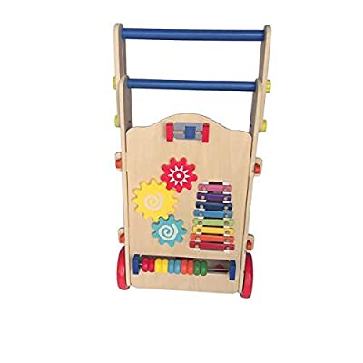 Simonseason Walker Toy, Adjustable Wooden Baby Walker Toddler Toys, Creative and Entertaining Design Toys with Multiple Activity Toys Center Suitable for Boys and Girls: Toys & Games