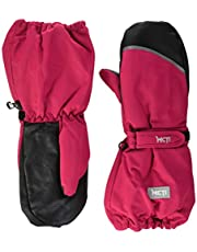 MCTi Kids Ski Mittens Winter Snow Snowboard Warm Sherpa Lined Baby Boys Girls Long Cuff Reflector Gloves Water Resistant