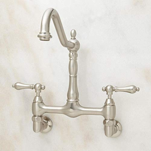 (Signature Hardware 329289 Felicity 1.8 GPM Double Handle Wall Mounted Bridge Kitchen Faucet)