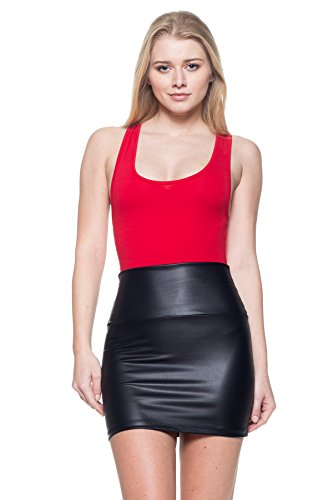 J2 LOVE Made in USA Metallic Faux Leather Mini Skirt (also in Plus),Black,Medium