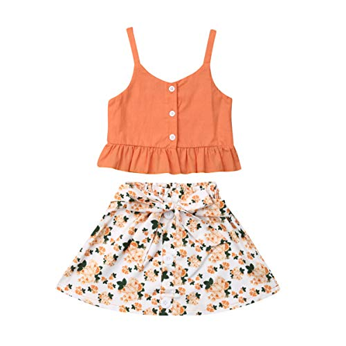 Toddler Baby Girls Ruffle Strap Top+Boho Floral Skirt Summer Outfit Clothes Two Piece Set (Orange Strap Top+Floral Short Skirt, 5-6T)