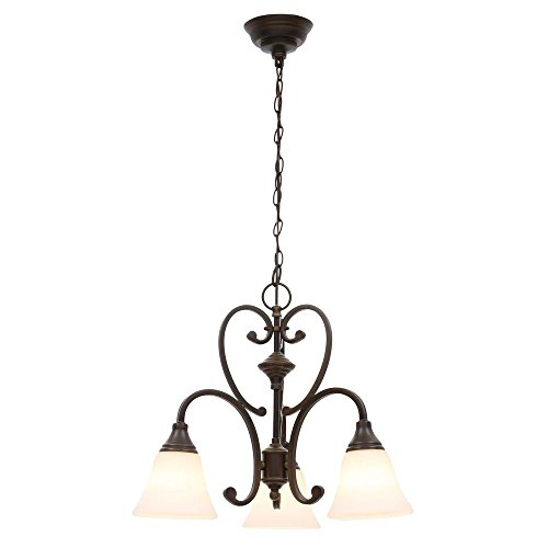 Hampton Bay Somerset 3-Light Bronze Chandelier with Bell Shaped Frosted Glass Shades Curves 3 Light Chandelier