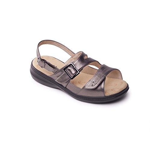 Padders Damen Breite Größe Sandalen Laura 2   Extra Breite Plus EEE Größe   kostenloser Rückversand nach UK   Gratis Footcare UK Schuhanzieher   Zinn