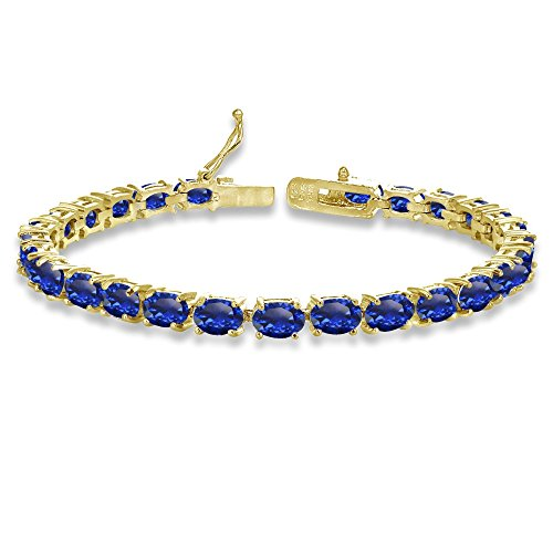 - Yellow Gold Flashed Sterling Silver 6X4mm Created Blue Sapphire Oval-cut Tennis Bracelet
