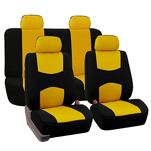 (FH GROUP FH-FB038114 Stylish Cloth Full Set Car Seat Covers w. FREE Steering Wheel cover & Seat Belt pads, Yellow / Black Color - Fit Most Car, Truck, Suv, or Van)