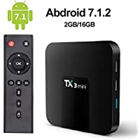 LayOPO TX3 Mini Android TV Box,Android 7.1 Smart TV Box TX3 Mini 2GB/16GB Amlogic S905W Quad Core 64 Bits WiFi Smart 4K TV Box with Remote Control