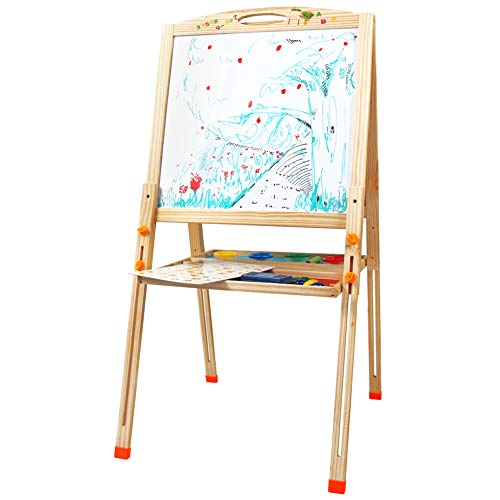 Fajiabao Wooden Double Sided Adjustable Drawing Art Easel Painting Board Writing Play Set Chalkboard Whiteboard with Magnetic Puzzles Learning Educarional Toys for Children Toddlers Kids Boys Girls ()