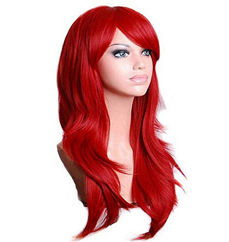 Long Wavy Cosplay Wig Red Green Purple Pink Black Blue Sliver Gray Blonde Brown 70 Cm Synthetic Hair Wigs,H048 orange,28inches