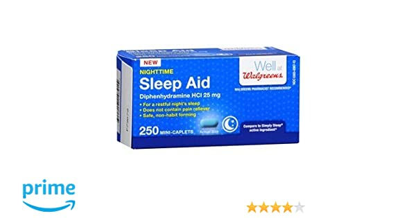 Amazoncom Walgreens Nighttime Sleep Aid Mini Caplets 250 Ea