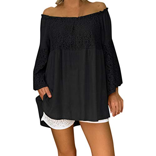 Haalife◕‿Sexy Women's Off The Shoulder Blouse Tops Ruffle 3/4 Bell Sleeve Casual Loose Blouse Shirts Black