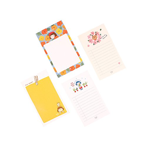(GRACEBELL Hello Jane Memo Pad, Cute Simple Illustrated Note Pad, 4 Designs of 1 set, 3.1in x 5.3in)