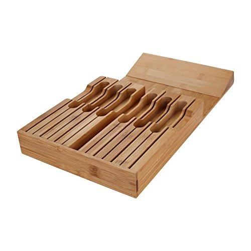 Utoplike In Drawer Bamboo Knife Block Drawer Organizer And