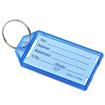 Souarts Blue Plastic Key Ring Tags with Name ID Card Pack of 20pcs