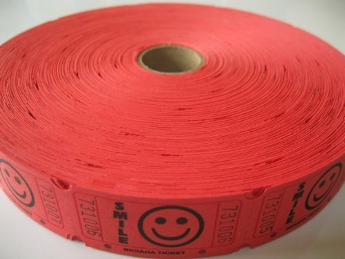 1 X 2000 Red Smile Single Roll Consecutively Numbered Raffle Tickets -